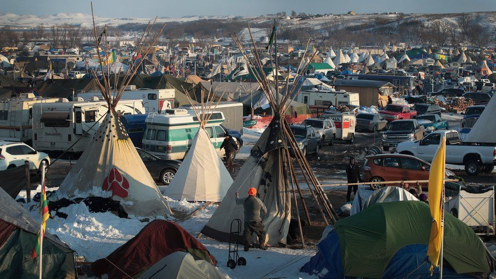 Protests over the Dakota Pipeline Access Project on the edge of the Standing Rock Sioux Reservation near Cannon Ball, North Dakota.