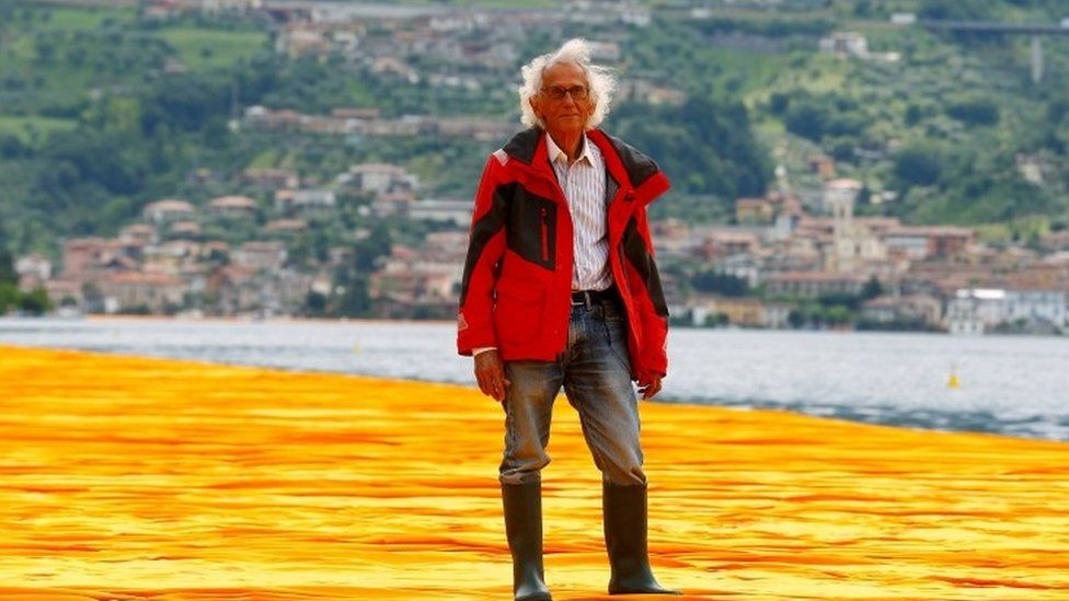 Christo stands on his installation 16/06/2016