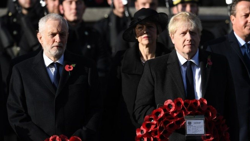Jeremy Corbyn and Boris Johnson at the Cenotaph