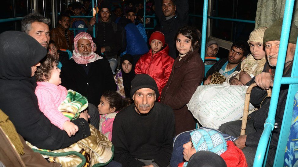 Syrian families are evacuated by bus through Sheikh Maqsud, a Kurdish-controlled enclave between the government-held west of Aleppo and the east, on November 27, 2016