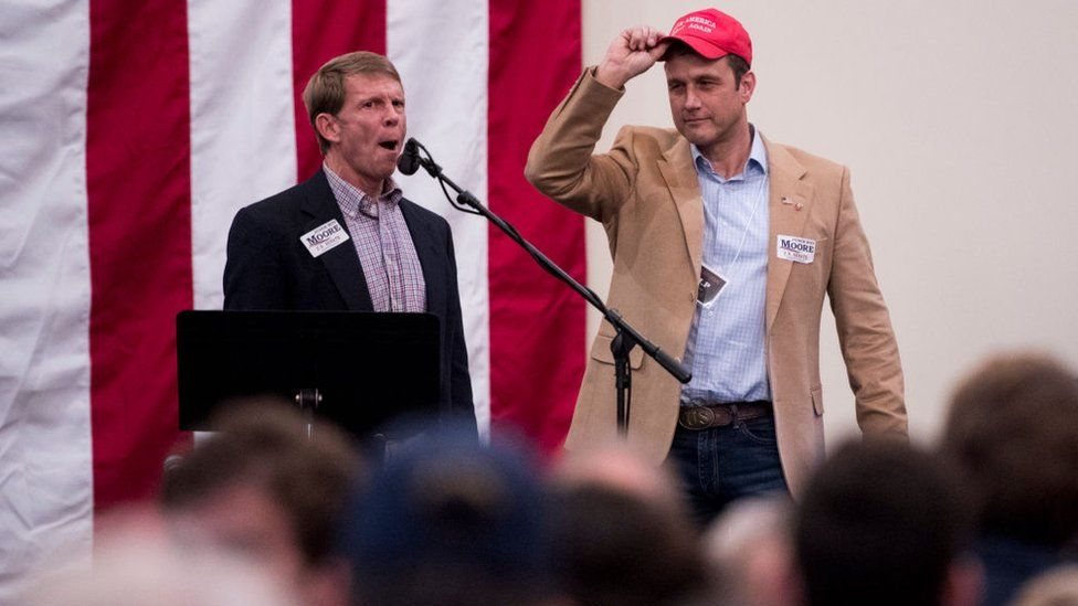 Paul Nehlen, right, at a campaign event in 2017
