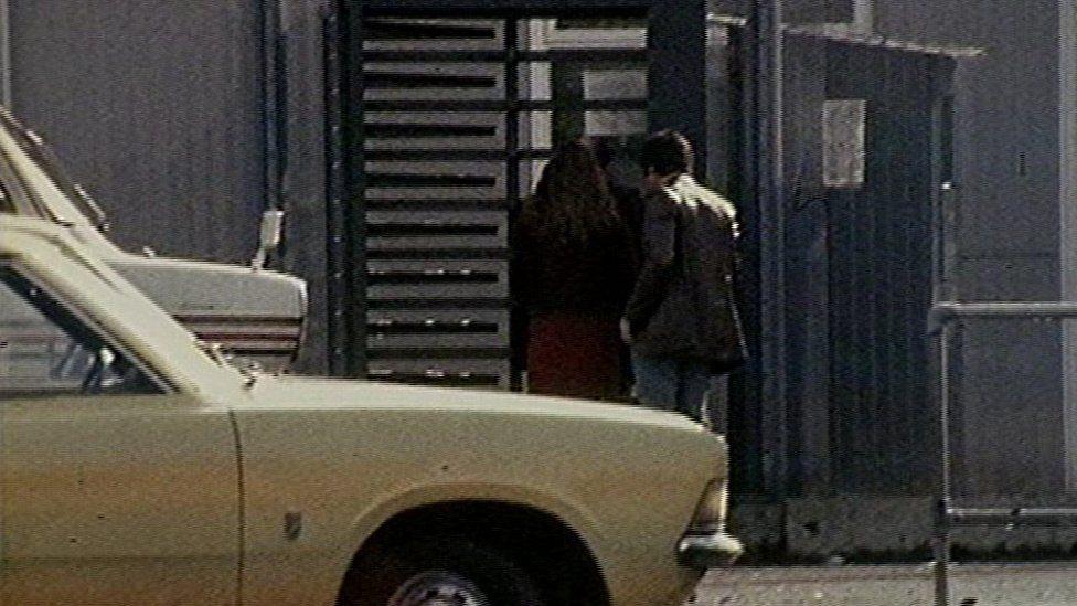 Visitors arriving at the Maze Prison