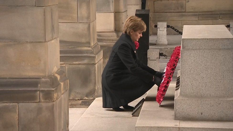 Nicola Sturgeon lays wreath at the Stone of Remembrance in Edinburgh