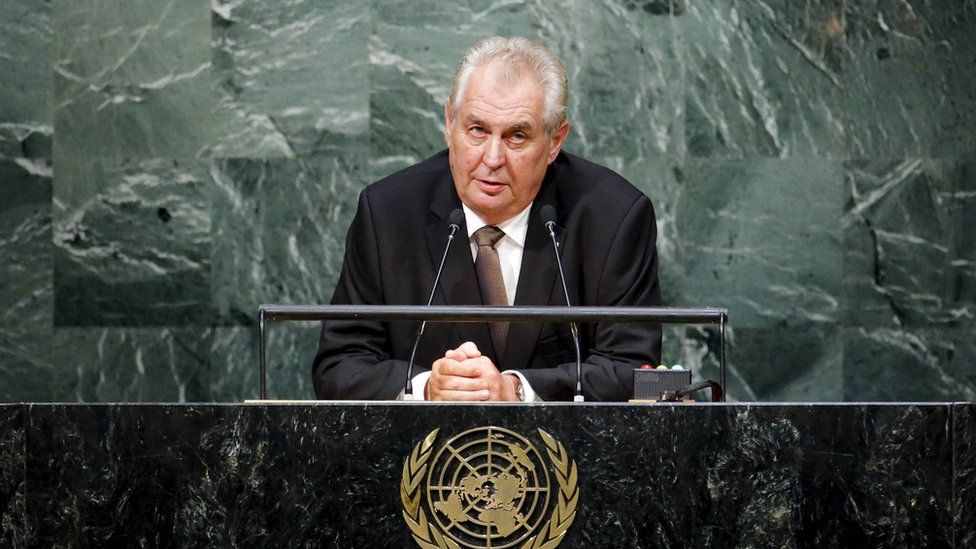 Czech President Milos Zeman speaks during the 70th session of the United Nations General Assembly at the U.N. Headquarters in New York