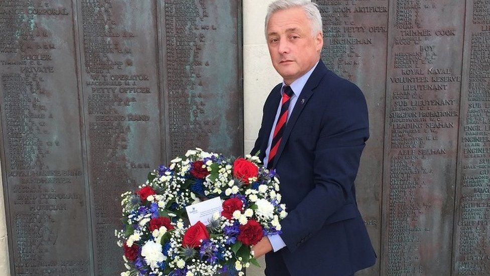 Sailors Society CEO Stuart Rivers laying a wreath at Portsmouth Naval Memorial for the crew of the SS Belgian Prince