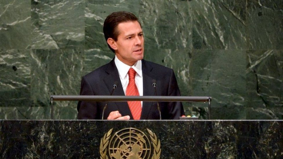 Mexican President Enrique Pena Nieto addresses a special session on the war on drugs at the United Nations General Assembly in New York (19 April 2016)