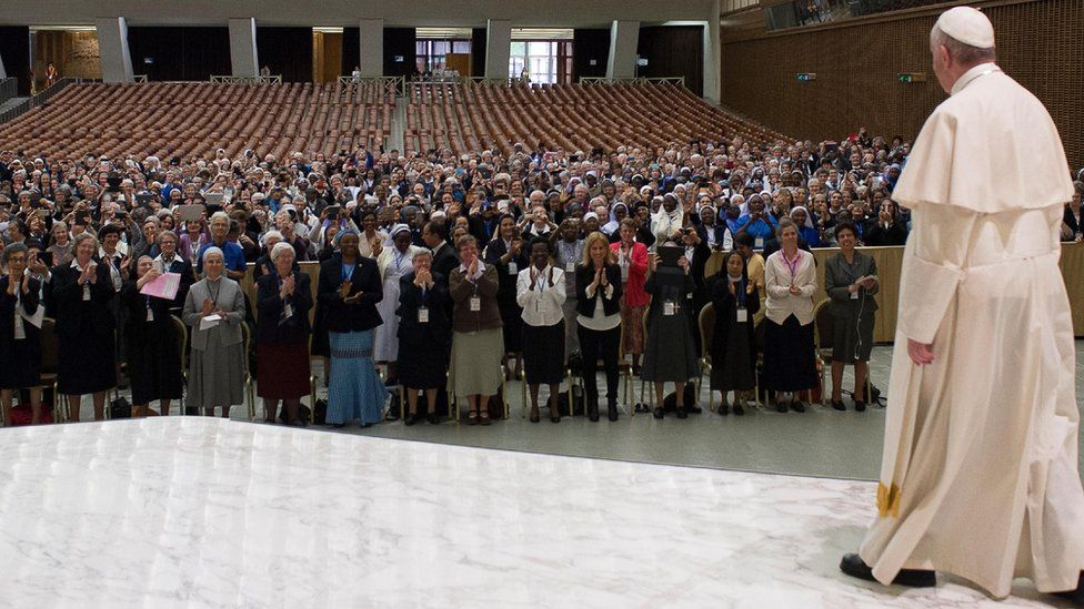 Pope Francis addresses a meeting of 900 Superiors from Women's religious orders at the Vatican on Thursday 12 May 2016