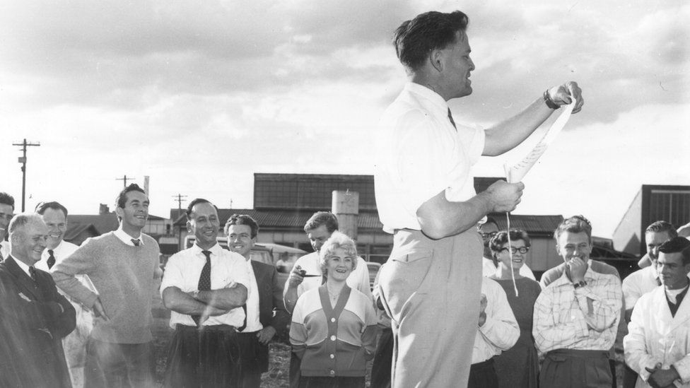 David pictured with staff from the Aeronautical Research Laboratories in 1958