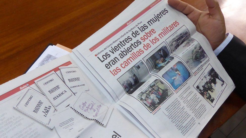A Peruvian newspaper carries an article about the forced sterilisations