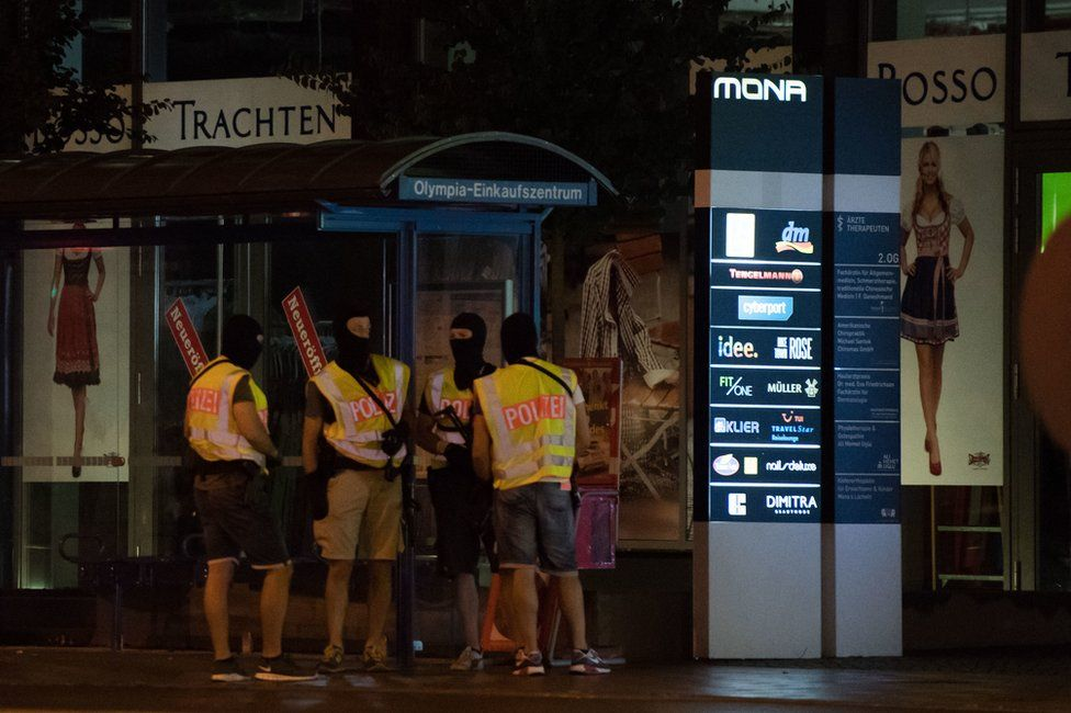 Police at the scene of the shooting in Munich, 22 July