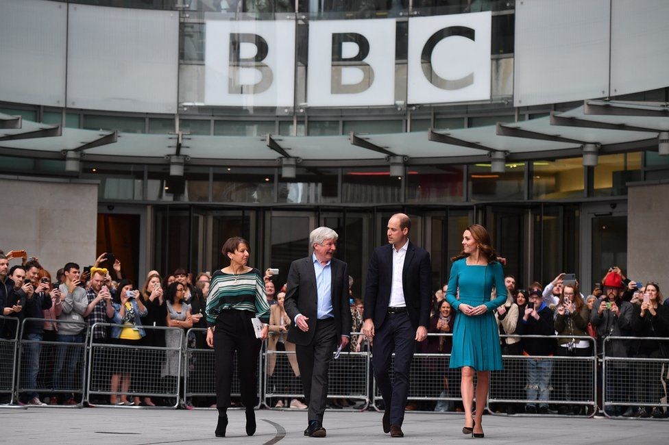 Prince William, Duke of Cambridge, and Catherine, Duchess of Cambridge, Director-General of the BBC Tony Hall and Director of BBC Children's Alice Webb are seen outside the BBC Broadcasting House
