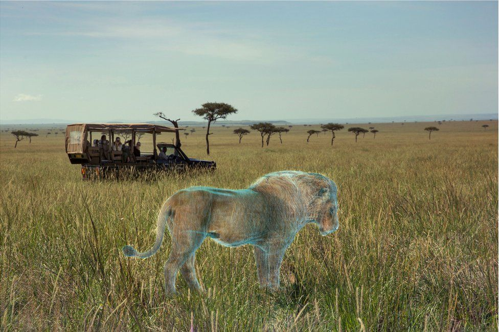 An abstract image of tourists on an African Safari tour looking at a holographic image of a lion