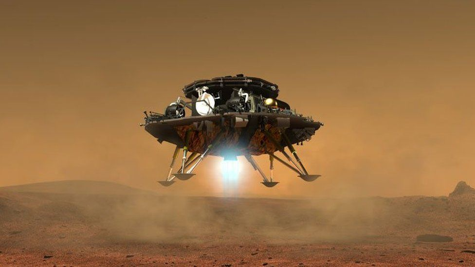 Computer-generated image of the proposed Mars lander