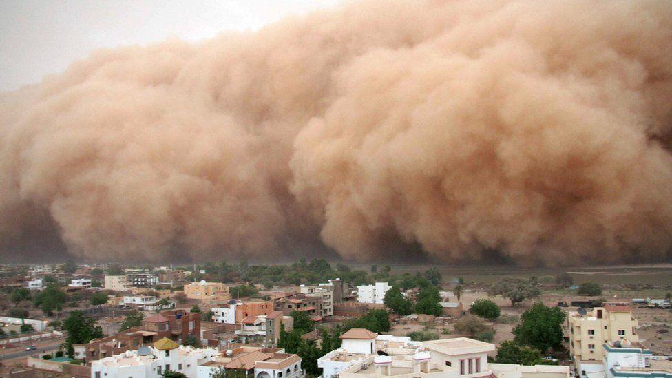 A dust storm approaching Khartoum in Sudan in 2007