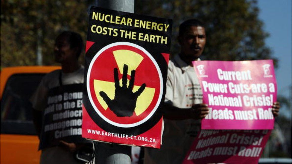 South African members of Earth Life demonstrate on April 23, 2008 outside one of South African state electricity company Eskom's main offices in Bellville, Cape Town, against the use of nuclear power and Eskom's proposed tariff hike