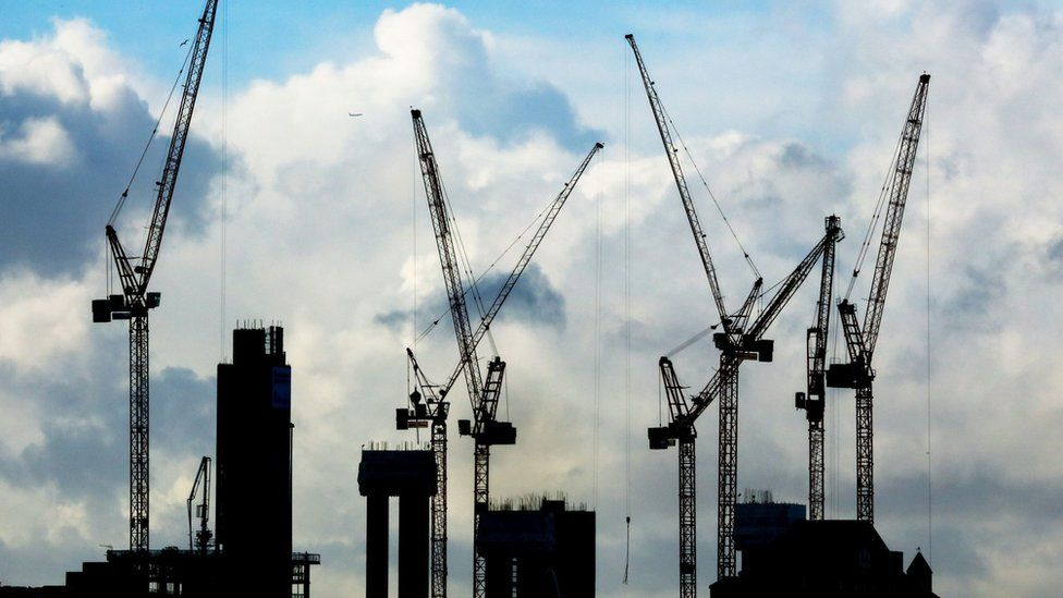 A general view of construction cranes on the London skyline