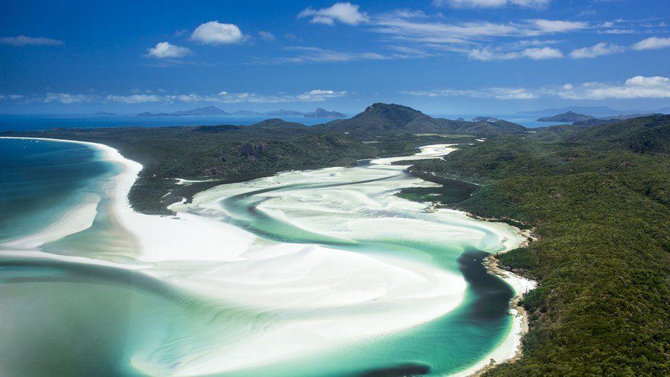 Aerial shot of Whitsunday Islands