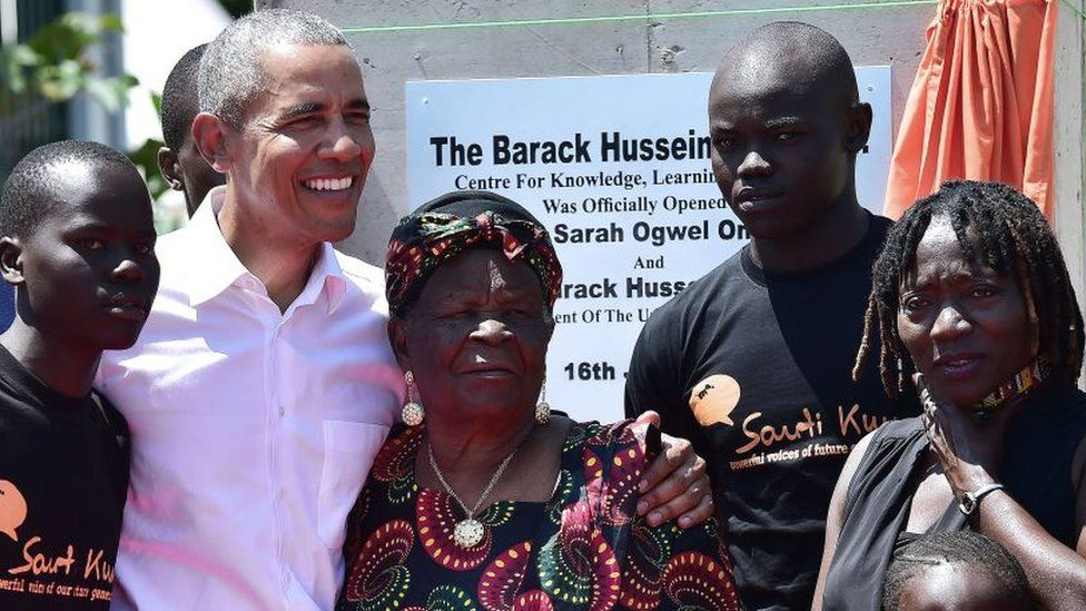 Barack Obama with Sarah Obama in Kenya