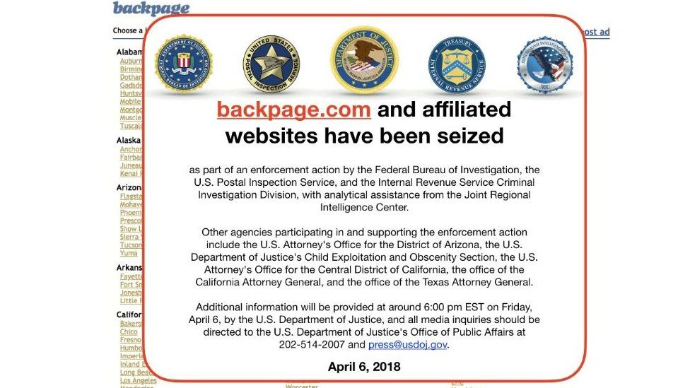 Backpage notice