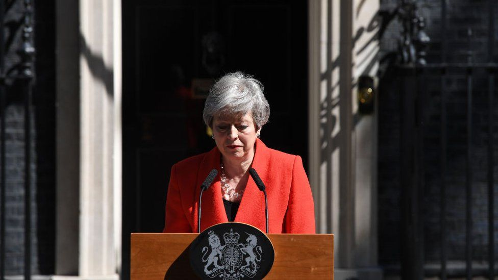 Theresa May speaking outside 10 Downing Street