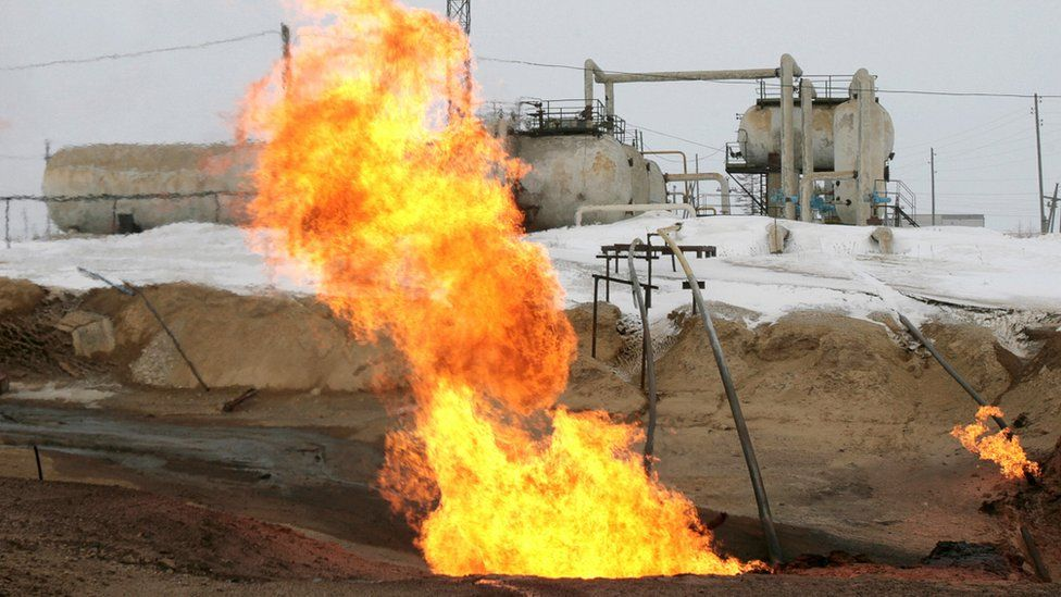 Gas flame near Rosneft gas producing station