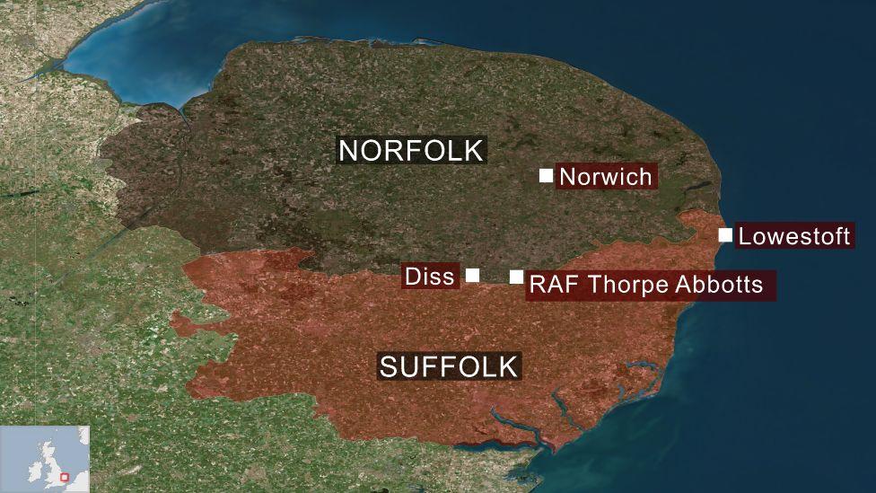 Map showing RAF Thorpe Abbotts