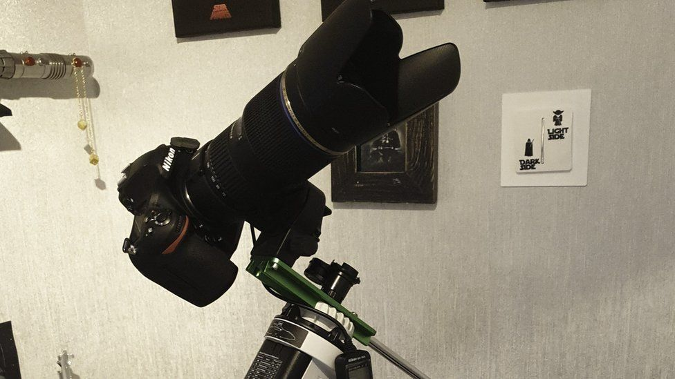 Camera on a tripod.