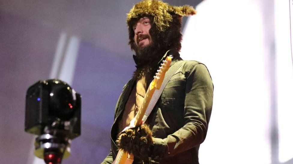 Nathan Connolly from Snow Patrol in fancy dress