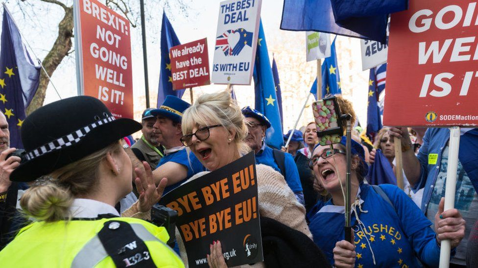 Brexit protesters holding placards
