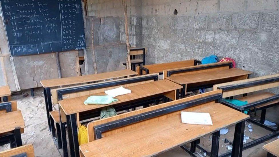 An empty classroom after children were taken by gunmen