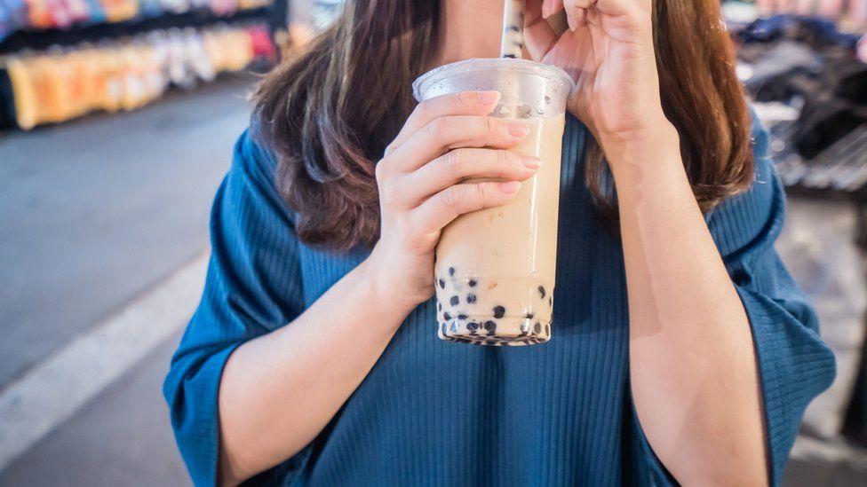 File photo of a woman drinking bubble tea