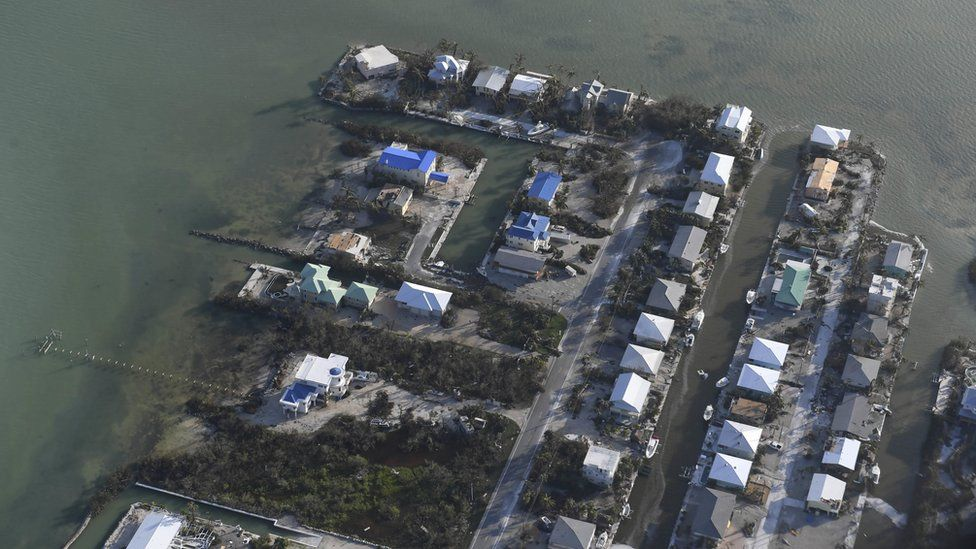 houses seen from above with very little damage