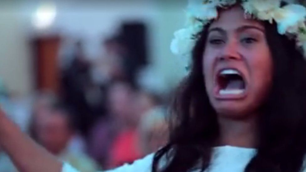 Aaliya Armstrong performs the haka at her wedding in Auckland