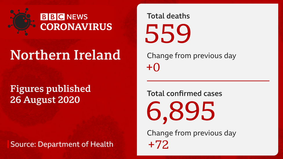 Slide showing number of deaths and positive coronavirus cases in NI