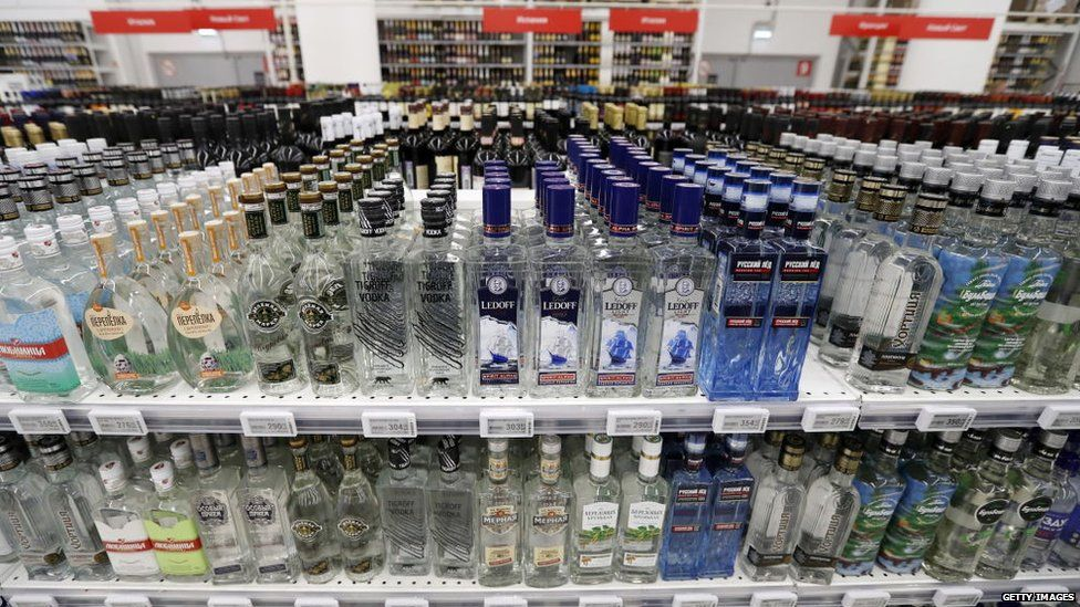 Bottles of alcohol in a Russian supermarket