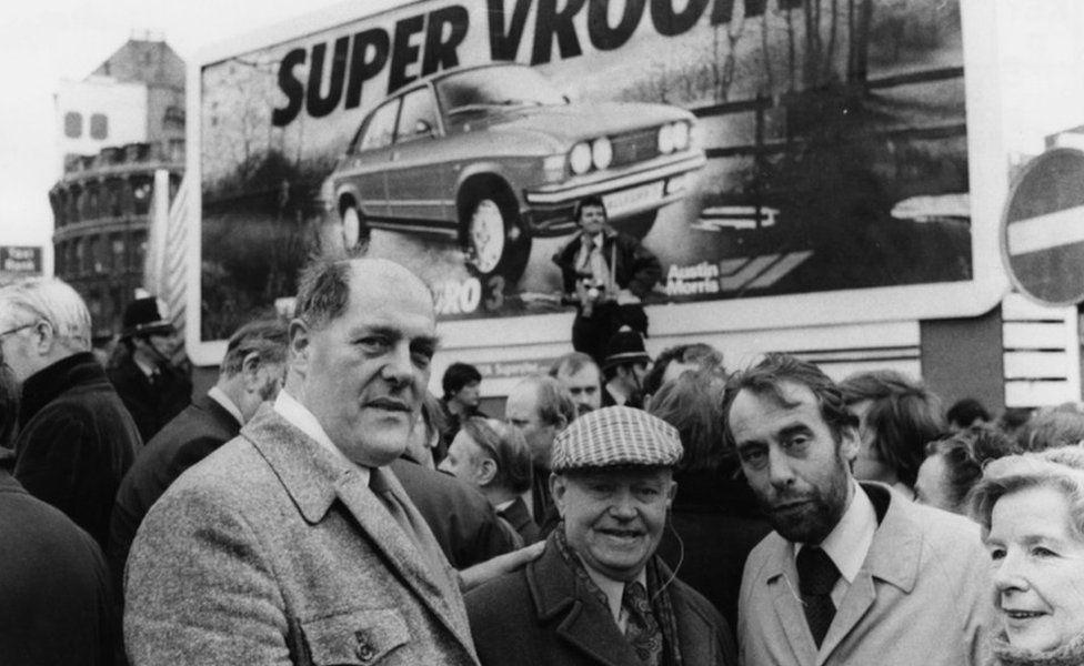 From left - Derek Robinson with fellow former shop steward Jack Neill, Leslie Huckfield, Labour MP for Nuneaton and Phyllis Davis