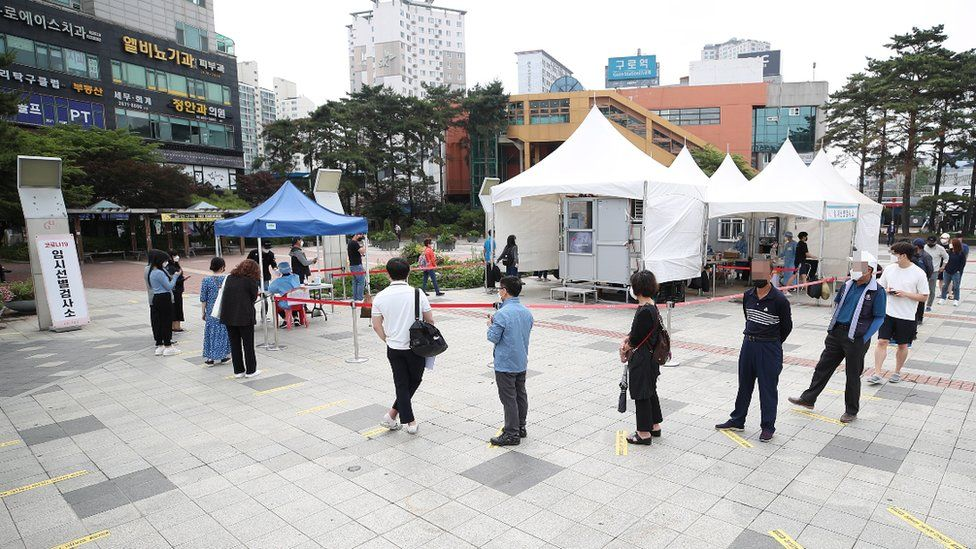 People in South Korea queuing for tests