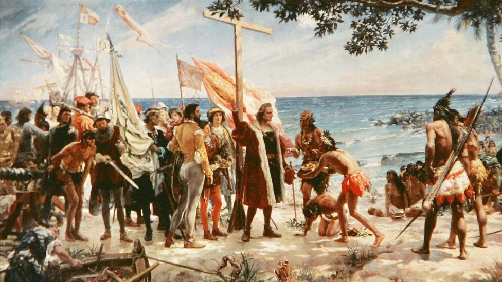 An undated painting shows Christopher Columbus arriving at one of the Caribbean islands on his voyage of discovery from the Naval Museum in Madrid