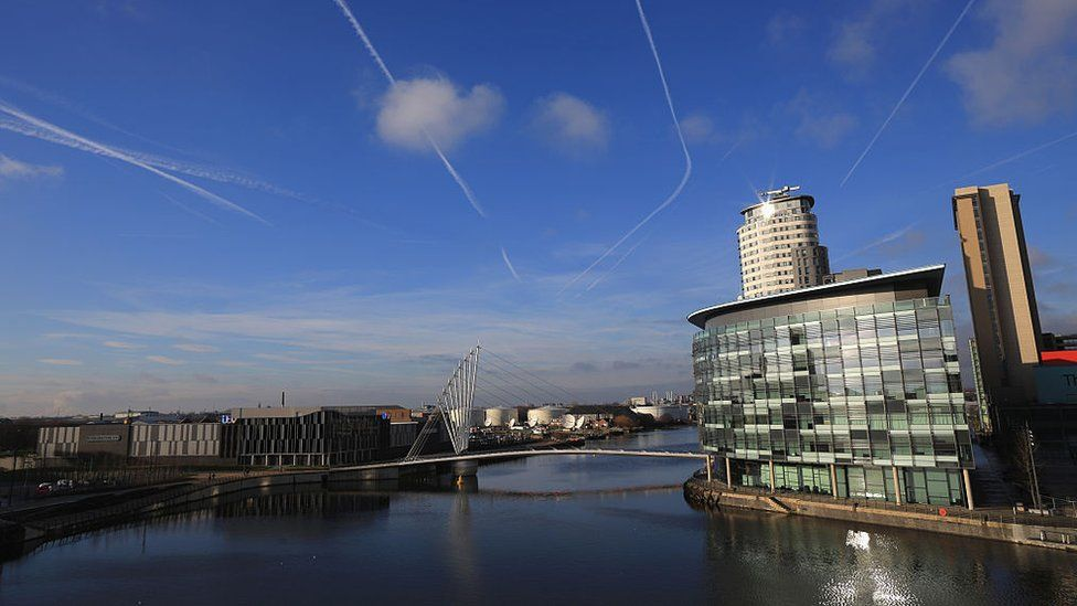 General view of Media City in Salford Quays on the banks of the Manchester Ship Canal