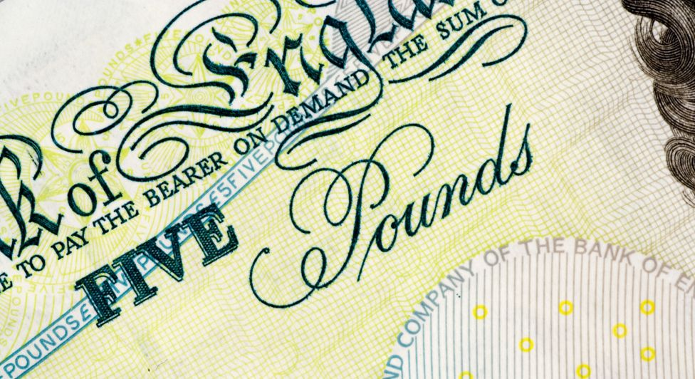 Close-up of five-pound note