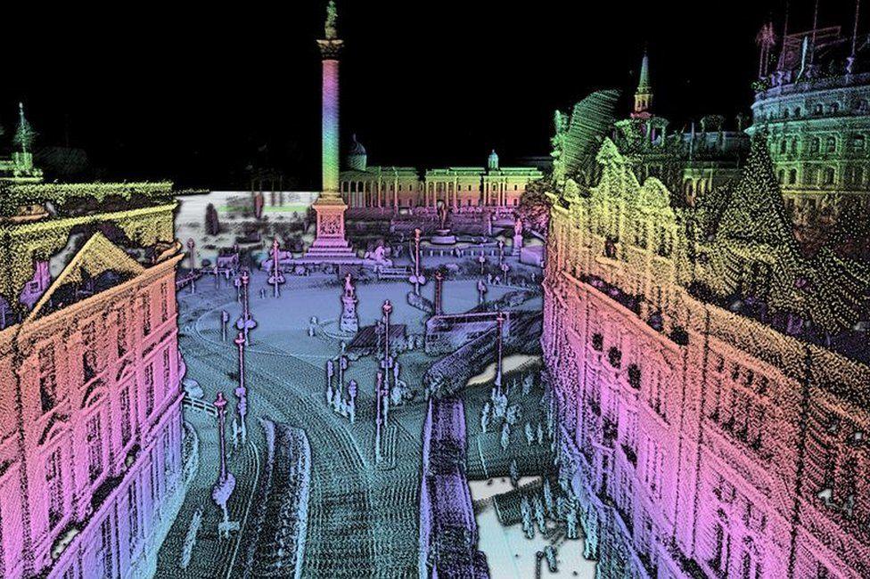 Lidar graphic of Trafalgar Square in London