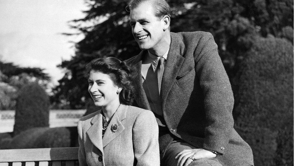 The young Queen and Prince Philip