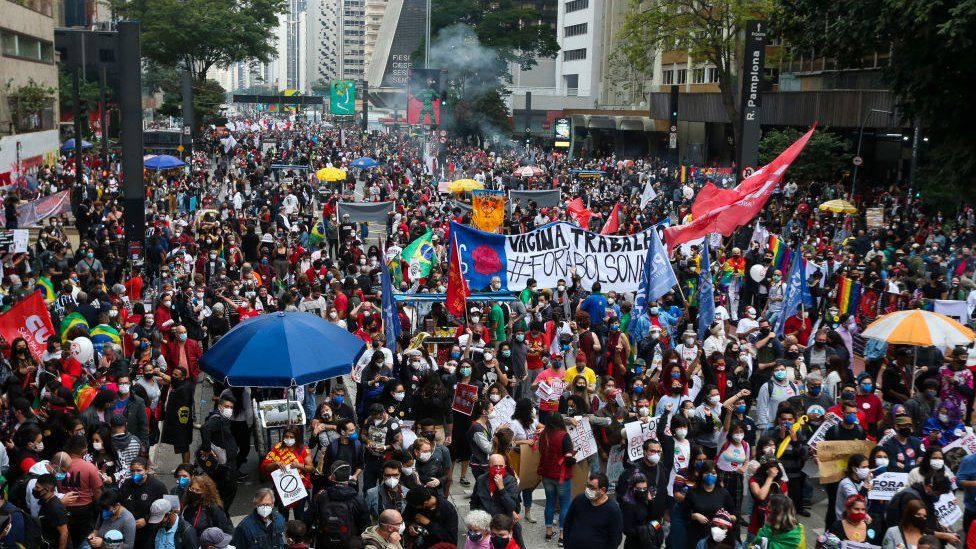 Thousands of anti-Bolsonaro protesters on the streets of Sao Paulo and in other parts of the country on Saturday