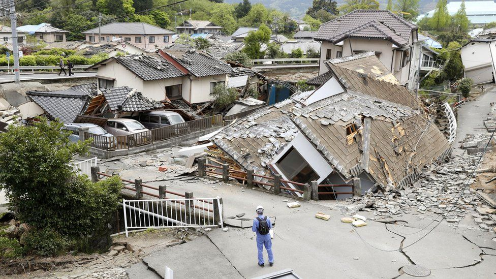 Destroyed houses in Mashiki, Kumamoto prefecture, southern Japan (16 April 2016)