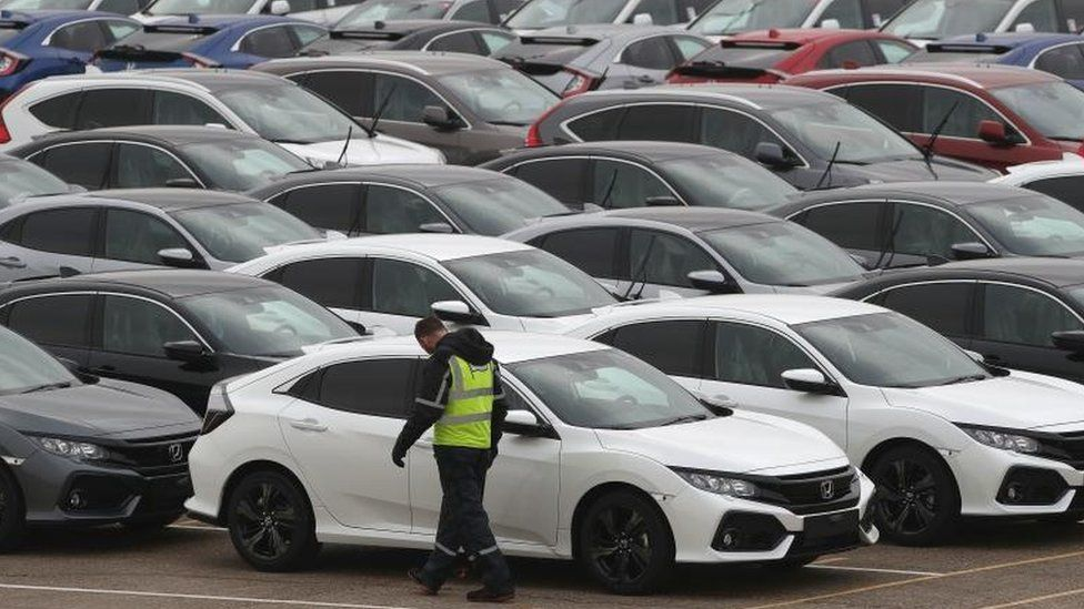 Honda cars lined up at Southampton Docks prior to being loaded onto a car container ship for export