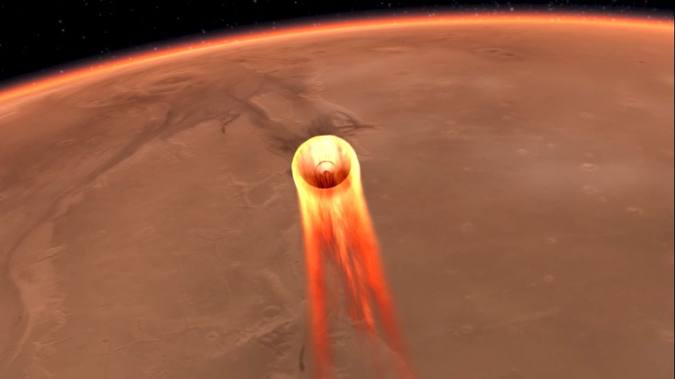 Artwork: Entry of Mars probe