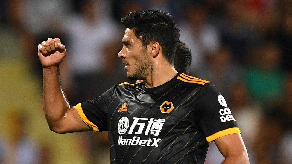 Raul Jimenez celebrates scoring for Wolves