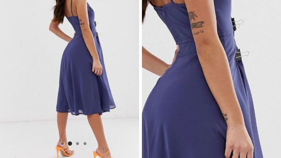 The dress that caused the controversy is modelled without the clips