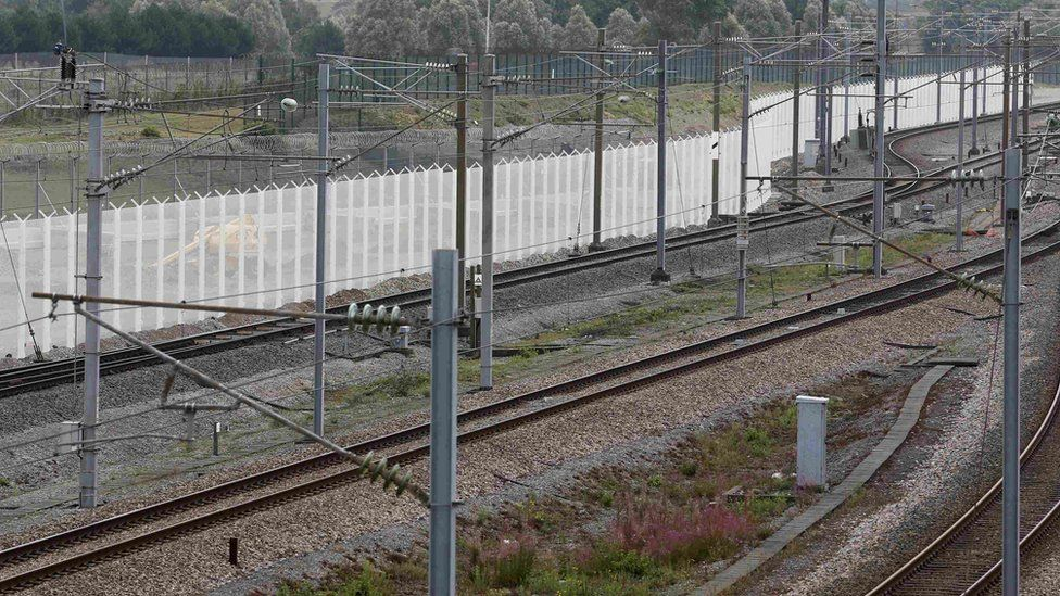 Security fencing near Eurotunnel entrance in Calais