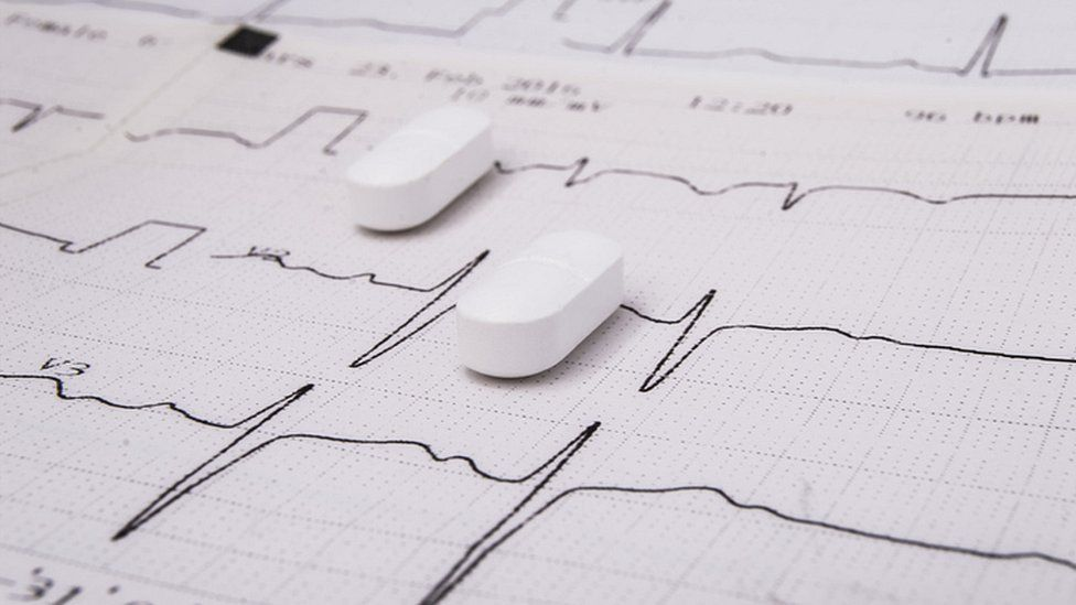picture of pills on a ECG